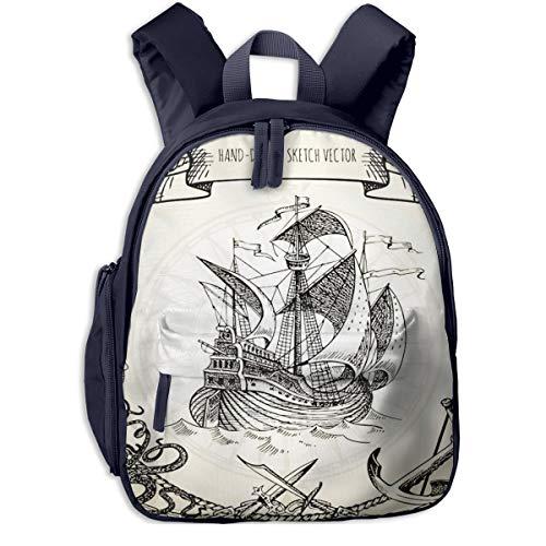 Kinderrucksack Kleinkind Jungen Mädchen Kindergartentasche Karte Abenteuergeschichten Pirat Backpack Schultasche Rucksack