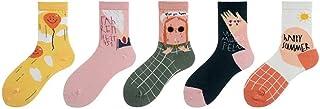 WZDSNDQDY Calcetines de algodón de Tubo para Hombre 5 Pares Patrones Coloridos de Dibujos Animados Calcetines de Baloncesto Callejero Ropa Transpirable Calcetines de Skate de Hip Hop
