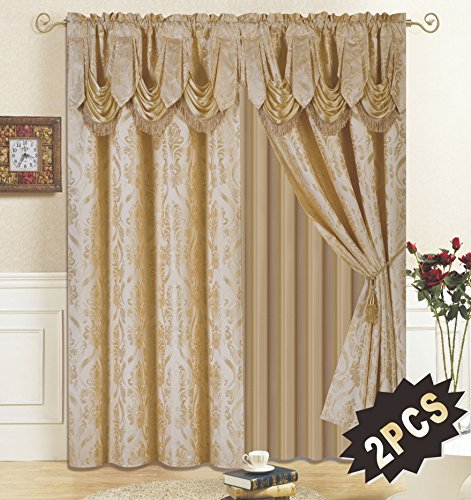 All American Collection New 4 Piece Drape Set with Attached Valance and Sheer with 2 Tie Backs Included (84