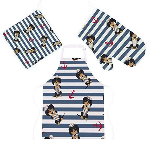 Conjunto de 3 peças de avental de cozinha com isolamento térmico, luvas para micro-ondas com suporte de panela, almofadas de dachshund para filhotes, fantasia de marinheiro, âncoras, decoração de cozinha, forno, luvas protetoras, tapete para grelhar e assar