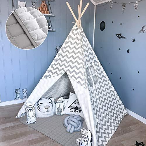 Teepee Tent para niños con colchoneta Acolchada - Tienda de campaña para niños y niñas de Interior y Exterior, Gris Chevron Heavy Cotton Canvas Teepee