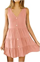 Rexinte Women Solid V-Neck Button up Mini Dress Sleeveless Ruffle Dresses Casual Party Gown Pleated Dresses