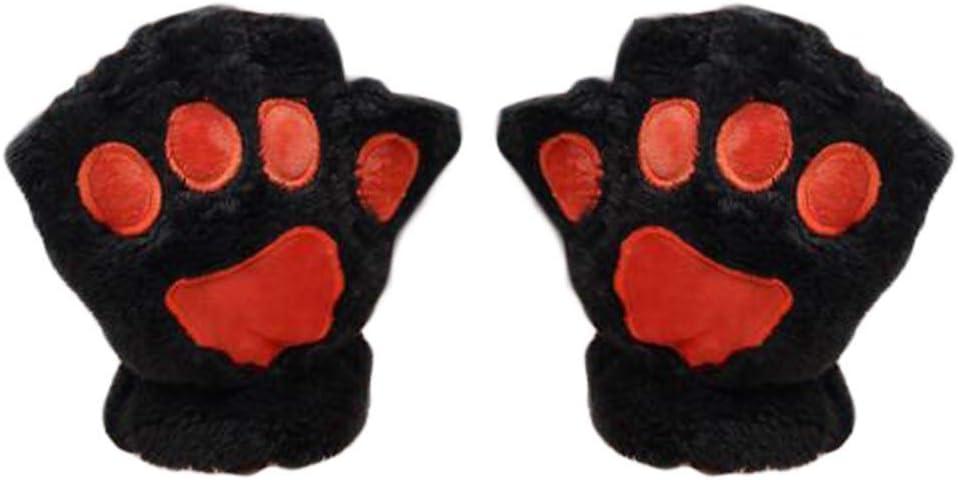 1 Pair Winter Gloves Cute Cat Paw Half-Finger Plush Gloves Warm Lining Mittens for Girls Women, Black