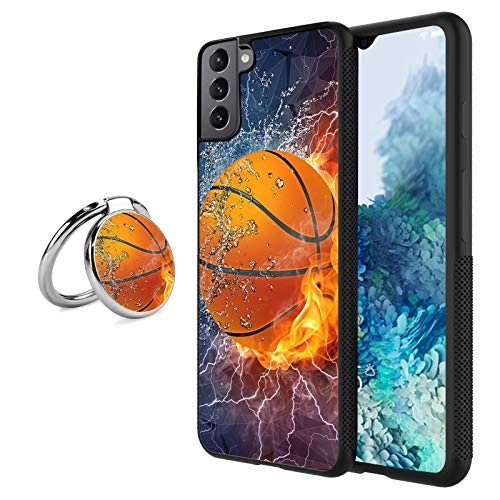 Compatible with Samsung Galaxy S21 Case with Ring Holder Kickstand Basketball Design Soft TPU+Hard PC Shockproof Protective Cover Case for Samsung Galaxy S21(for Women Men)