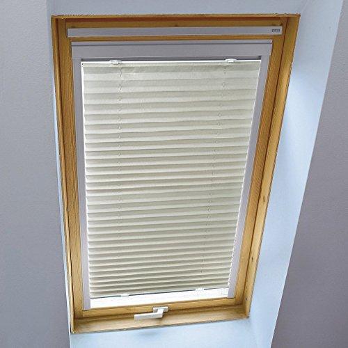 KINLO 90 x 130cm hellgrau Faltrollo Plissee Jalousie mit Saugnäpfe Velux Dachfensterrollo ohne Bohren Easyfix verspannt Faltstore für Dachfenster Sichtschutz und Sonnenschutz