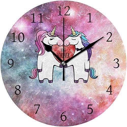 quanjiafu Wanduhr Runde Wanduhr Paar Liebe Nebel Galaxy Home Art Uhr Für Home Office