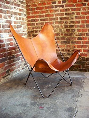 JGARTS Brown Leather ARM Chair Butterfly Leather Butterfly Chair Home Decor