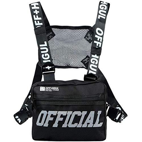 abcGoodefg Tactical Chest Rig Radio Shoulder Holster Holder Pack Walkie Talkie Harness Hip Hop Backpack Chest Rig Vest Harness, Black