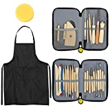 Blisstime Set of 30 Clay Sculpting Tool Wooden Handle Pottery Carving Tool Kit Carrying Ca...