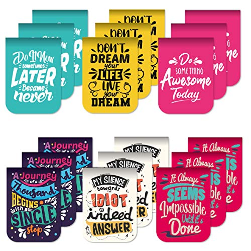 Desecraft 18Pcs Inspirational Awesome Magnetic Bookmarks Page Markers Clips for Kids Woman Teacher Students Reading Planner Books School Office