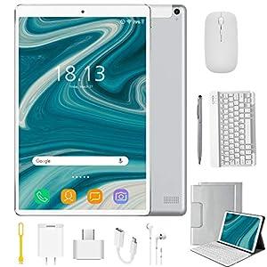 Tablet 10.1 Pulgadas 4G Android 9.0 Quad Core DUODUOGO P8 Tablet 4GB RAM 64GB ROM/128GB Escalables 8000mAh Dual SIM/Cámara Tablet PC Google GMS Netfilx OTG (Estándar + Teclado y Mouse, Plata)