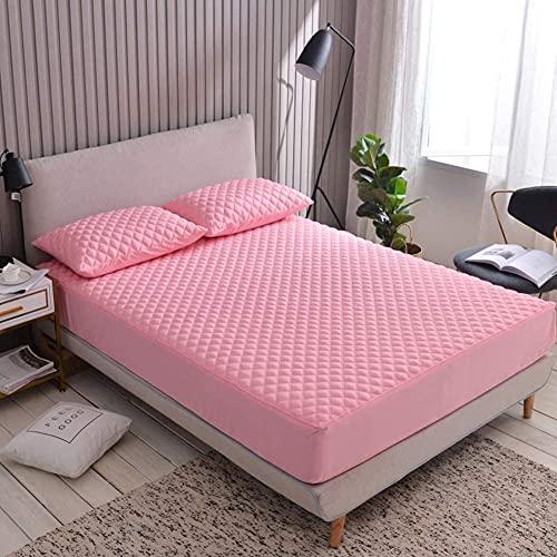 CHAJI Cubierta Premium del colchón con Cremallera, Tapa de colchón de Tela de algodón, sábana de Cama Acolchada con Todo Incluido de Seis Lados de 20 cm de 20 cm,Rosado,150x200cm