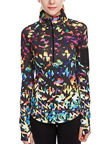 icyzone Damen Sport T-Shirt Langarm Laufshirt - 1/2 Reißverschluss Fitness Sweatshirt Laufjacke Running Tops (XL, Fantastic)