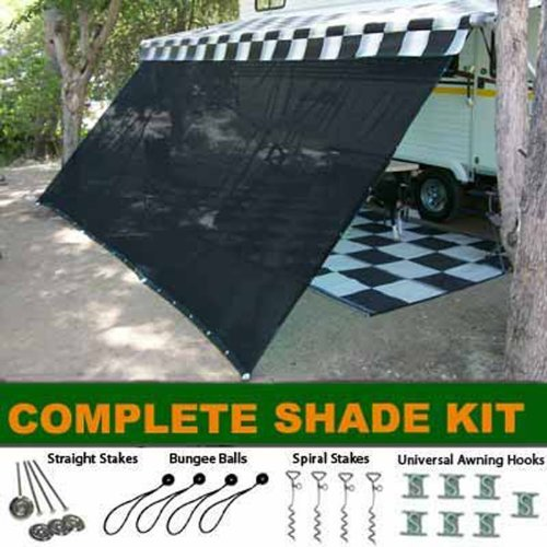 EZ Travel Collection Black RV Awning Shade Complete Kit 10' X 16' Sun Shade Canopy Shelter