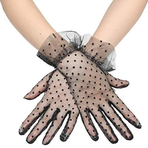 Coucoland Damen Polka Dot Handschuhe Lang Kurz Transparent Netzstoff Mesh Handschuhe Braut Hochzeit Handschuhe Opera Fest Party Handschuhe Damen Fasching Kostüm Accessoires (Kurz - Schwarz Dot)