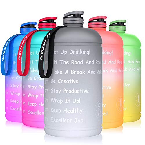 AOMAIS Gallon Water Bottle with Motivational Time Marker, Large 128 oz, Leak-Proof, Wide Mouth, BPA Free Water Bottles for Sports Gym Fitness Work Black Gray