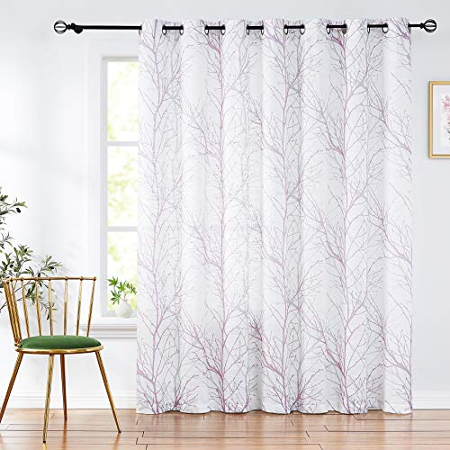 Fmfunctex Branch Patio Door Curtains 84inches Length Tree Print Semi Sheer Sliding Door Curtain Panel for Living Room Lilac 100' w 1 Panel Grommet Top