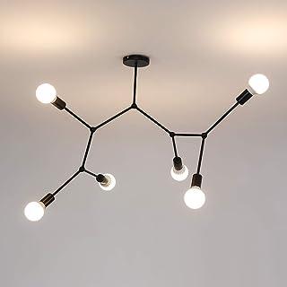 AUA lámpara de techo, Lámparas Colgantes E27, Plafón lámparas de varios cabezales moderna negra, para salón restaurante (bombillas no incluidas)