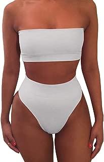 Pink Queen Women's Swimwear White Size Large L Bikini High-Waisted Bandeau