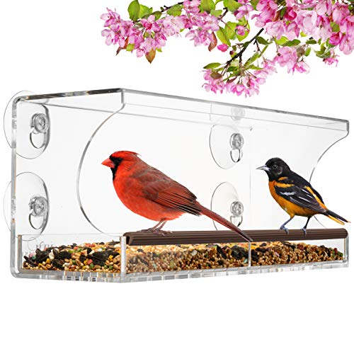 Window Bird Feeder for Outside Birds View, Transparent Birdhouse Kit with Removable Tray & Strong Mount Suction Cups for Outdoors Birdfeeders View for Cardinals, Bluebirds, Finches. Acrylic Bird House