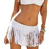 DELEY Mujeres Niñas Ganchillo Borla De Falda Corta Trajes De Baño Bikini Cubrir Verano Trajes De Baño Blanco
