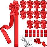 Syhood 12 Moños de Cintas de Navidad Adornos Navideños Lazos de Cintas de Gabinetes de Puertas de Navidad Lazos de Cintas Festivas con Cinta de 98,4 Feet para Decoración de Árbol de Navidad, Rojo