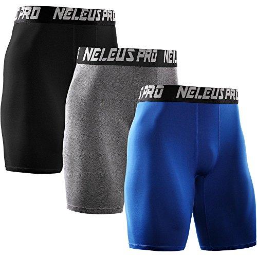 Neleus Men's 3 Pack Athletic Compression Short,6028,Black,Grey,Blue,US 2XL,EU 3XL