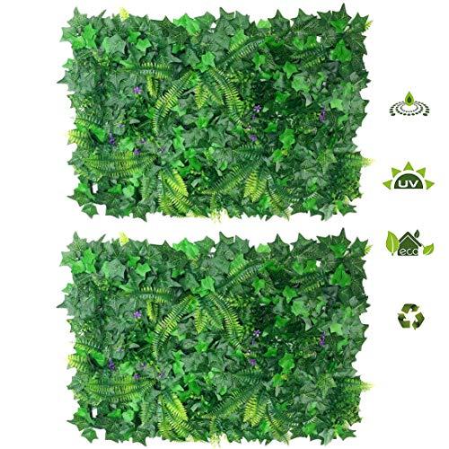 Yiteng ウォールグリーン 2セット 壁掛け フルリーフグリーン 人工観葉植物 造花 芝生 リアル インテリア ウォール装飾 植物マット 癒し 緑化ディスプレイ 装飾 壁面装飾 40cm×60cm (サツマイモ葉 2セット)