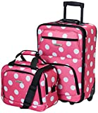 Rockland Fashion Softside Upright Luggage Set, Pink Dots, 2-Piece (14/19)