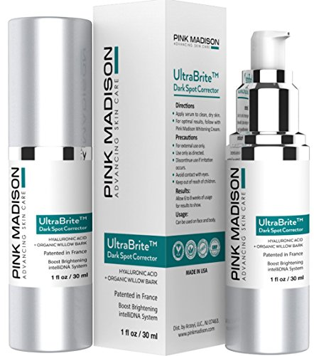 Pink Madison Dark Spot Corrector Best Dark Skin Age Spots Diminisher for Face, Hands, Body No Hydroquinone 1 ounce