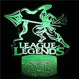 League of Legends 3D Ilusión Holograma Noche Lámpara Ilusión Lámpara con Control Remoto 16 Color Cambio de Navidad Regalo de Cumpleaños para Niño Bebé Niña