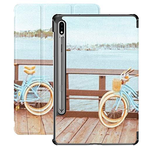 Funda para Galaxy Tab S7 Funda Delgada y Ligera con Soporte para Tableta Samsung Galaxy Tab S7 de 11 Pulgadas Sm-t870 Sm-t875 Sm-t878 2020 Release, Two Retro Bicycles Standing On Santa