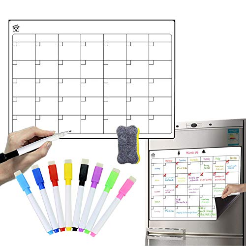 Sunfauo Pizarra Nevera Calendario Magnetico Planificador semanal Magnético Comida planificador Cocina Aviso Junta Calendario magnético para Nevera vk0021-2