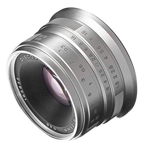 Fotga 25mm F1.8 handmatige fixfocus-objectief handmatige focus-lens, groot diafragma, 68 graden kijkhoek, voor micro 4/3 camera Olympus E-PM1 E-PM2 E-PL1/2/3/5/6/7/8/9 E-P1/2/3/5/6 E-M1 E-M5 E-M10 PEN-F Panasonic G1 G2 G3 G5 G7 G85 GF1 GF3 GF6 GF8 GF9 GX1 GX7 GX8 GM1 GM5 GM10 GH1 GH2 GH3 GH4 GH5 GH5s camera APS-C (For Panasonic Olympus M4/3 camera, zilver)