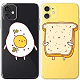 Mertak TPU Couple Cases Compatible with iPhone 12 Pro Max Mini 11 SE Xs Xr 8 Plus 7 6s Funny Adorable Cute Best Friend Slim Kawaii Food Flexible Egg Relationship Soulmate BFFs Anniversary Toast Bread