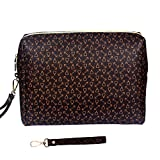 OXYTRA Large Makeup Bag Toiletry Bags for Traveling - Waterproof Leather Cosmetic Bags Shell Shape Retro Cosmetic Organizer for Women Girls, Cosmetics, Toiletries, Make Up Tools (B-Brown)