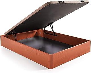 Hogar 24 Canapé Abatible Madera Gran Capacidad con Tapa 3D y Válvulas de Transpiración, con Esquineras en Madera Maciza, Color Cerezo, 150X200cm