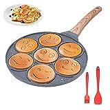 Padella Pancake Smile, Pancake Piastra Antiaderente 7 Fori Padella Frittata Senza FPOA Piatto Colazione per Bambini
