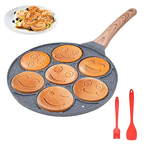 Sarten Para Tortitas Smiley, Plancha Antiadherente Para Panqueques 7 Hoyos Sartén Para Tortillas Lindo e Interesante Panqueques de Desayuno Para Niños Molde, 26 cm