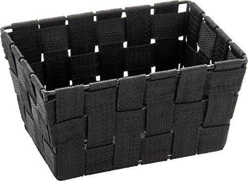 WENKO Aufbewahrungskorb Adria Mini Schwarz - Badkorb, rechteckig, Kunststoff-Geflecht, Polypropylen, 19 x 9 x 14 cm, Schwarz
