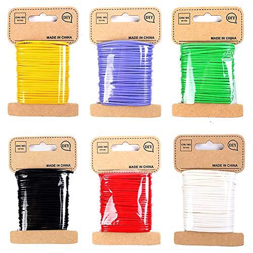 FLZONE 6 Rollos Cordón Encerado,Hilo Encerado de Algodón Cordón para Pulsera Collar de Bricolaje Fabricación de Joyas 2 mm * 10 m