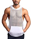 COOFANDY Mens Workout Tank Fishnet Muscle See Through T Shirt Sexy Mesh Transparent Tees Top (Medium, 01-White