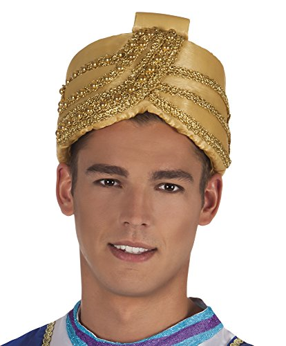 shoperama Turban Hut Sultan Orient 1001 Nacht Flaschengeist Aladin Maharadscha Wüsten-Prinz Emir Kalif Bollywood Herrscher Kopfbedeckung Kostüm-Zubehör