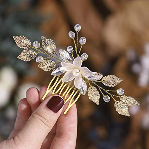 Edary Braut Blume Hochzeit Haarkamm Gold Blatt Braut Kopfschmuck Kristall Haarspangen Strass Haarschmuck für Frauen und Mädchen