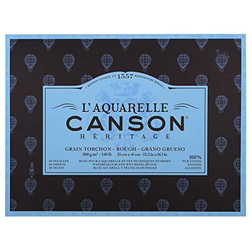 Canson L'Aquarelle Canson Héritage Block 4 Seiten geklebt 20 Blatt Torchon Körnung 31 x 41 cm