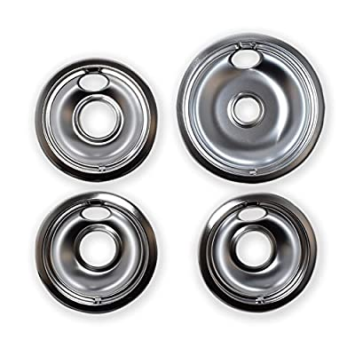 "Kitchen Basics 101 Chrome Drip Pans Replacements for Whirlpool W10196405 W10196406 1 Large 8"", 3 Small 6"""