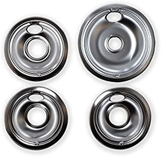 Kitchen Basics 101 Chrome Drip Pans Replacements for Whirlpool W10196405 W10196406 1 Large 8