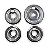 Kitchen Basics 101 Chrome Drip Pans Replacements for Whirlpool W10196405 W10196406 1 Large 8', 3 Small 6'