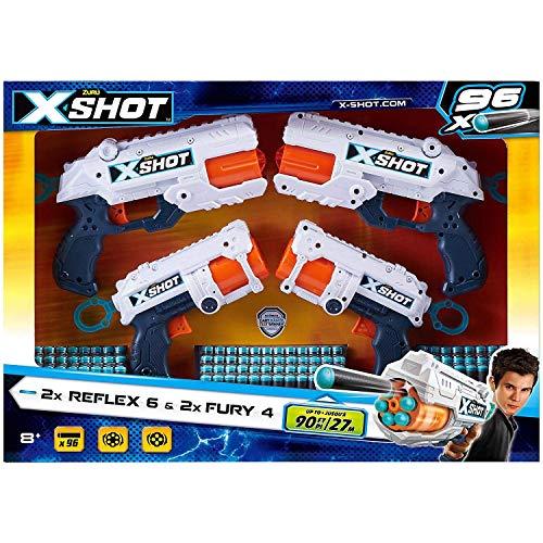ZURU X-Shot 2X Reflex 6 & 2X Fury 4 & 96 Dart Combo Set