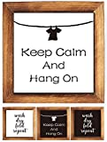Wood Framed Block Sign -Keep Calm and Hang On, Wash Dry Fold Repeat Funny Humor Rustic Farmhouse Laundry Room Table Wood Framed Sign